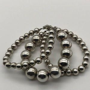 Triple strand Sterling Bead Bracelet